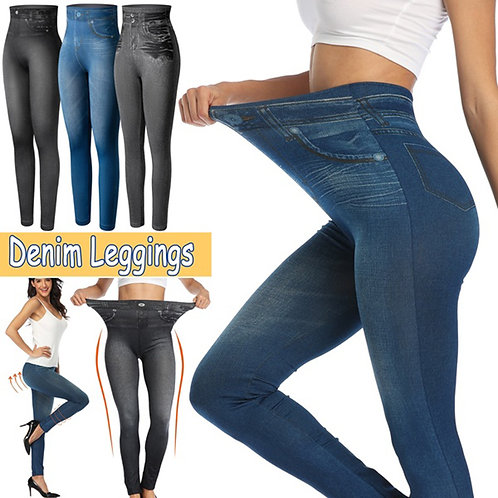 Push Up Seamless High Waist Warm Jeans Leggings