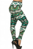 Green multi Color Soft Leggings