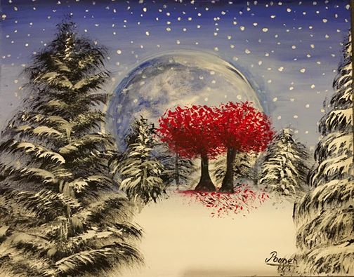 Winter with red tree