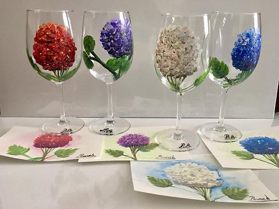 Hand painted wine glass set