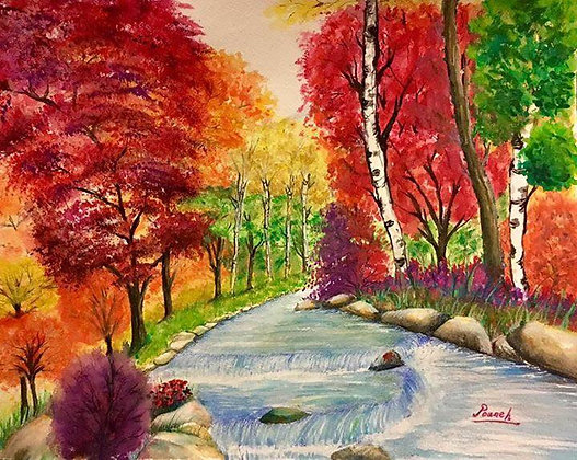 Water color Fall with Fram
