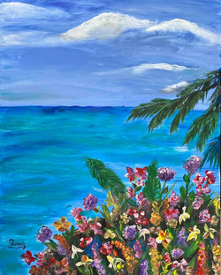 Sea with flowers