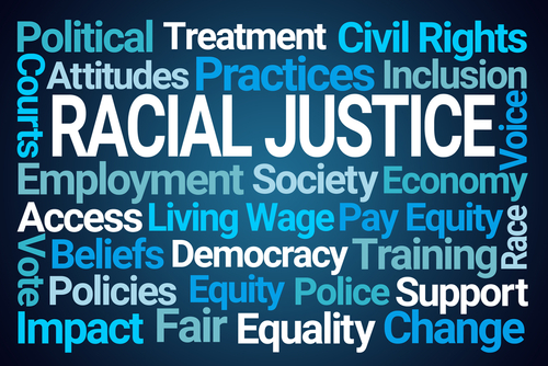 Racial Justice Word Cloud on Blue Backgr
