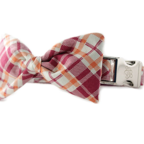 Raspberry and Orange Plaid Bowtie Collar