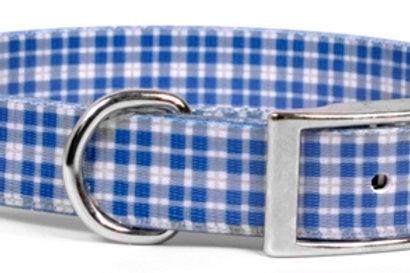 Preppy Blue Plaid Elements Dog Collar