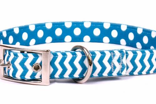 Uptown Chevron Blueberry Dog Collar