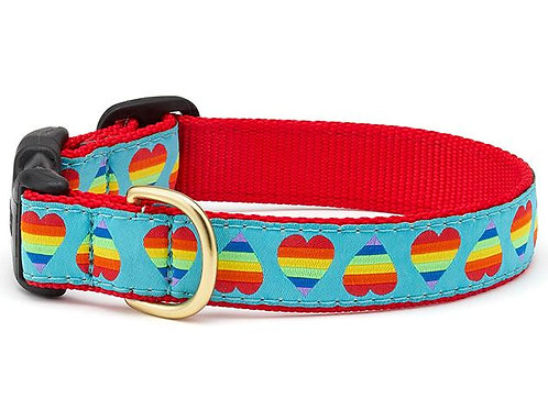 Rainbow Hearts Dog Collar