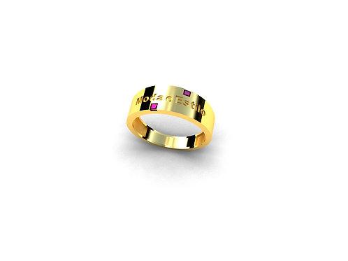 Anel de Formatura Moda e Estilo em Ouro 18k e Pedras Naturais