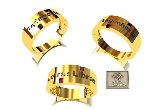 Anel Personalizado, em Ouro amarelo, Branco ou Rosé 18k