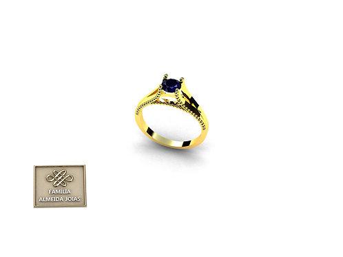 Anel Debutante em ouro 18k e Pedra Natural