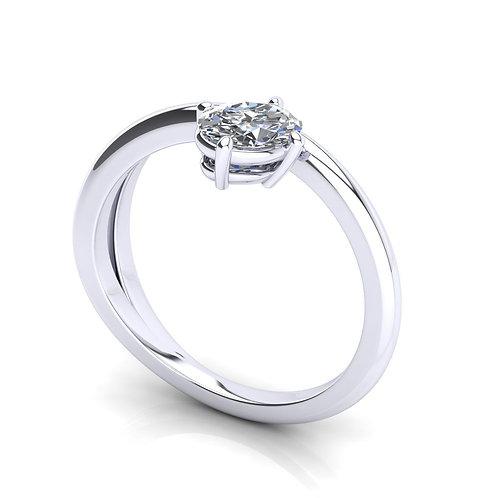 Anel Solitário Ouro Branco 18k e Diamante Oval
