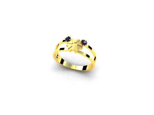 Anel de Formatura Agronomia em Ouro 18k e Pedras Naturais
