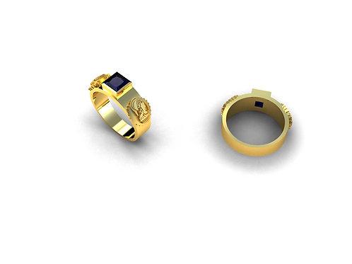 Anel de Formatura Engenharia em Ouro 18k e Pedra Natural