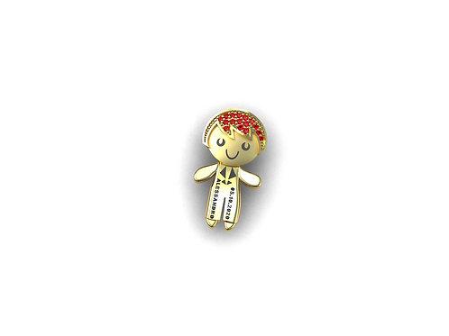 Pingente Menino em ouro 18k(Escolha a cor do Cabelinho)