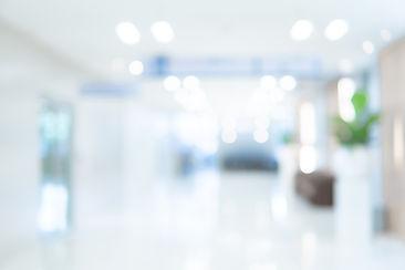 Abstract blur luxury hospital corridor.