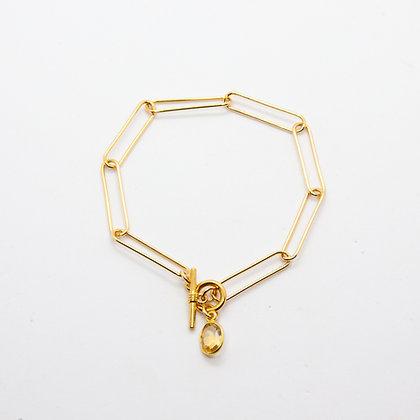 Marine   Bracelet maille large en plaque or 3 microns et citrine