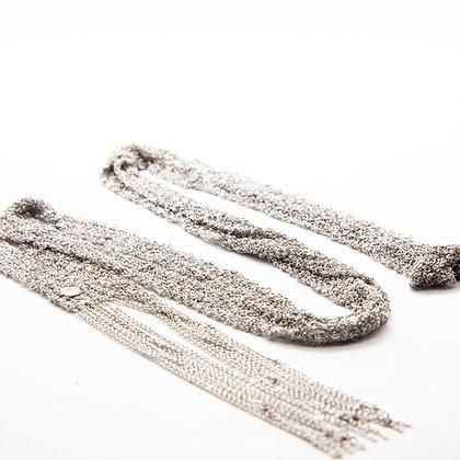 Santorin | Collier sautoir de chaines tressées en argent 925