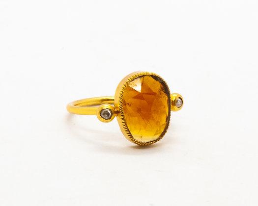Bague tourmaline ocre et diamant- bijoux createur - bijoux boho-bijoux boheme - the boho society