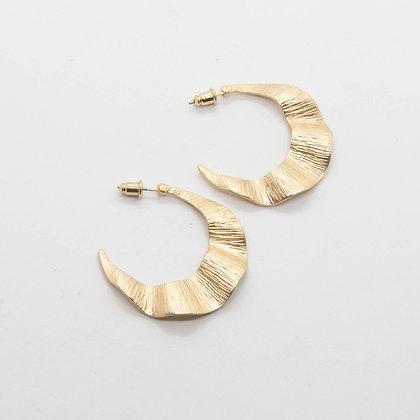 Wavy   Boucles d'oreilles creoles dorées à l'or fin