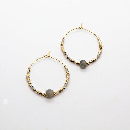 Jolly | Boucles d'oreilles créoles Labradorite