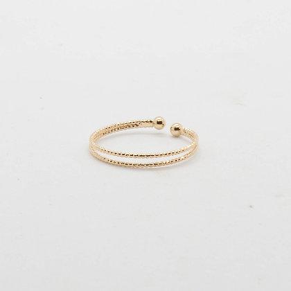 Nessie | Bague double anneau en plaqué or 3 microns