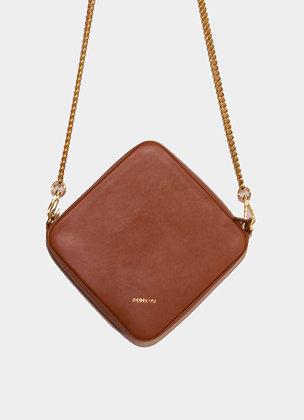 The boho society-sac en cuir marron-chaine doree-haute maroquinerie-paris 64