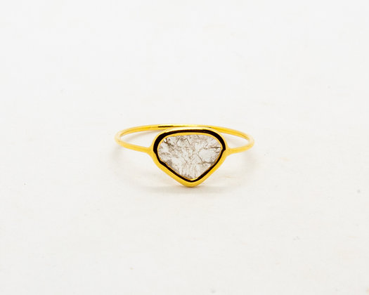 bague en or 14 carats diamant slice - bijoux createur - bijoux boheme - the boho society