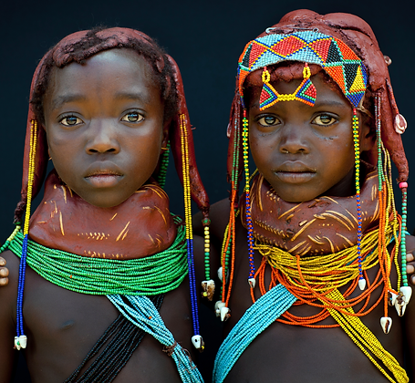 Two Mumuhuilas little girls, Angola by Eric Lafforgue