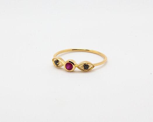 bague or 14 carats rubis et diamants - bijoux createur - bijoux boheme - boho chic - the boho society
