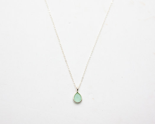 Demi collier argent Calcédoine | Demi necklace