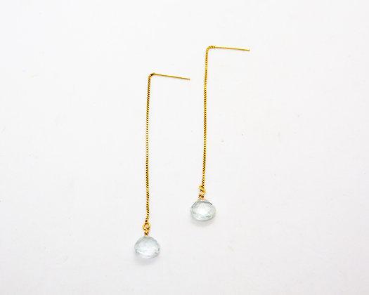 boucles d oreilles pendantes et aigue marine - bijoux createur - the boho society