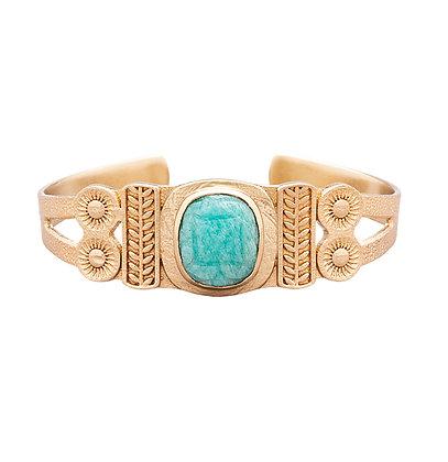 bracelet jonc Juliette pierre turquoise atelier plume- bijoux bohème - bijoux createur - bijoux boho - the boho society