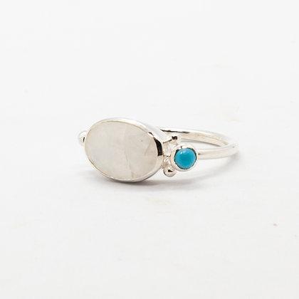 Lilla | Bague pierre de lune et turquoise en argent 925