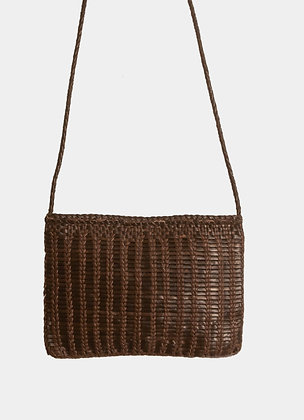 sac dragon lizard - sac cuir tresse - sac a main bandouliere - sac cuir marron - sac fait main - the boho society