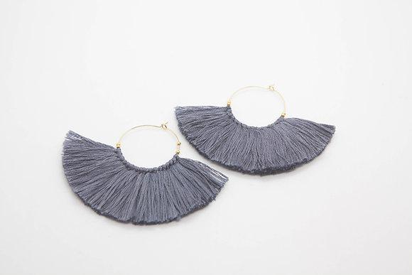 The boho society-bijoux de createurs-boucles d'oreilles creoles avec maxi pompons-bijoux boheme chic