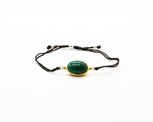 bracelet cordon scarabee pierre verte malachite- bijoux créateur canyon - boho chic - the boho society
