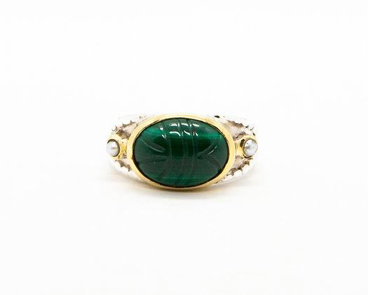 Bague femme argent scarabee pierre verte malachite - bijoux créateur canyon - boho chic - the boho society