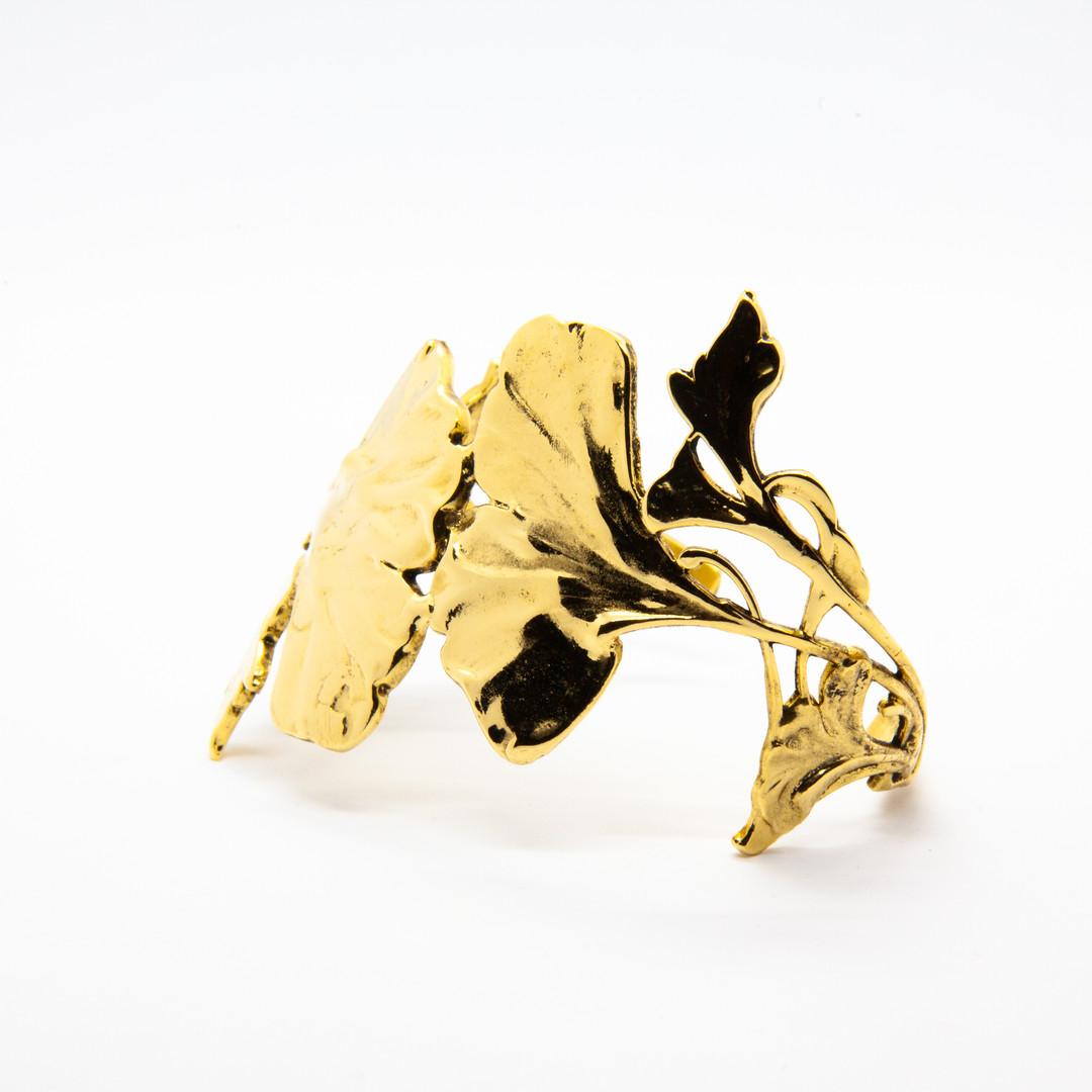 bracelet ginkgo plaque or - bijoux crete