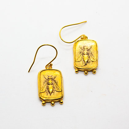 Antic   Boucles d'oreilles abeille en argent 925 doré à l'or fin 18K