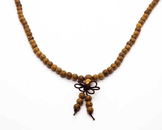Collier Mala perles bois naturelles - collier homme bouddhiste- collier homme boho chic - bijoux homme - the boho society