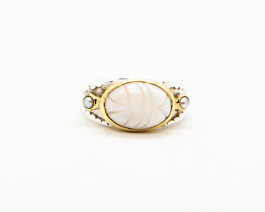 Bague femme argent scarabee nacre blanche - bijoux créateur canyon - boho chic - the boho society