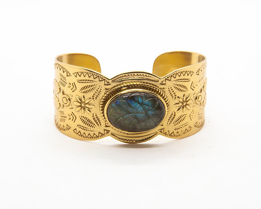 bracelet odette labradorite - bracelet manchette femme - l'atelier plume - bijoux boheme - the boho society