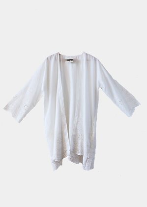 Kimono happy brodé en coton blanc - emilie renard - kimono style boheme