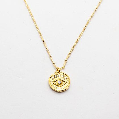 Mystic eye   Collier plaqué or avec médaillon en vermeil