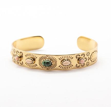 Suzette | Bracelet jonc de créateur opale & rubis zoisite