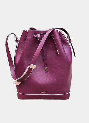 The boho society-sac en cuir bordeaux-bucket bag-sac sceau en cuir-haute maroquinerie-paris 64