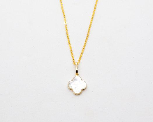 collier or 14 carats et trèfle nacre- collier fin en or- collier createur stalactite - bijou de createur -  the boho society