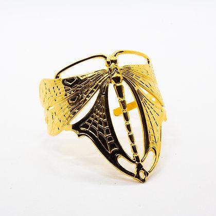 Libellule   Bracelet manchette de créateur plaqué or