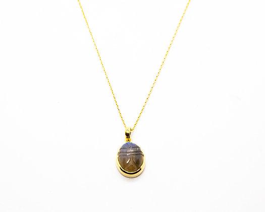 Collier scarabee - collier femme pierre labradorite-pendentif scarabee labradorite - bijou créateur canyon - the boho society