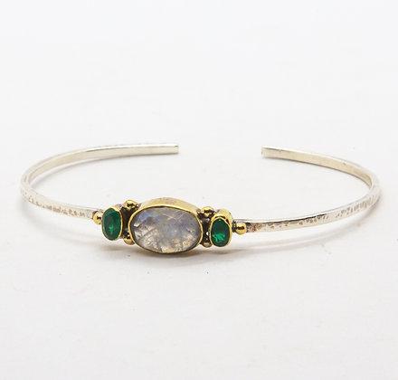 Bahia | Bracelet pierre de lune et onyx en argent 925